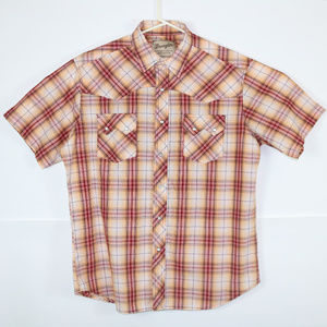 Wrangler Western Pearl Snap Large Shirt Red Brown